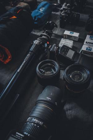 erilaisia kameravarusteita