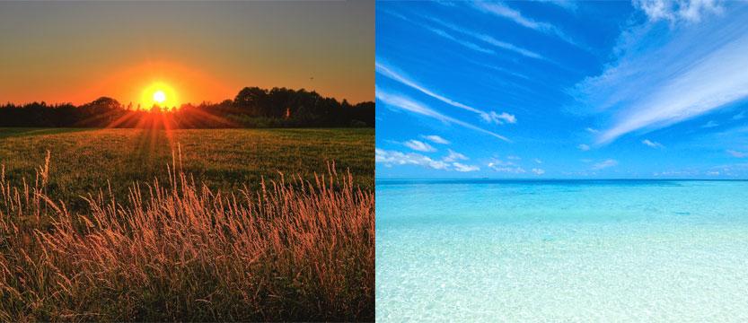 keltainen auringonlasku-sininenvälimerikuva