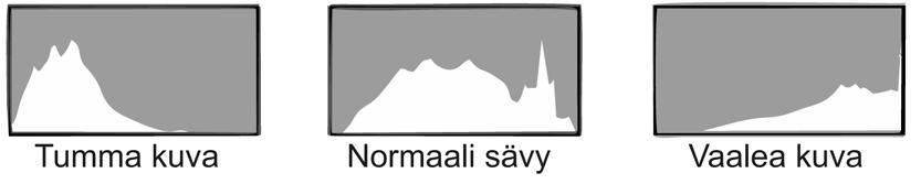 histogrammivertailu tumma vaalea sekä oikein valottunut