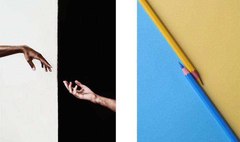 kontrastiesimerkki käsi musta vs valkoinen tausta